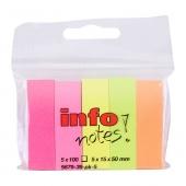 Лепящи  хартиени индекси Info Notes Неон 15х50 mm