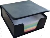 Цветен хартиен куб в кожена поставка