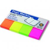 Лепящи индекси хартиени,20x50 mm, неон